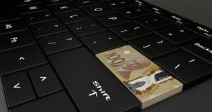 Feche acima de Canadá cem botões do dólar ilustração stock