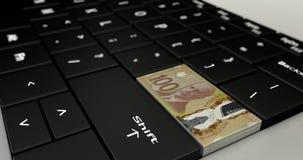 Feche acima de Canadá cem botões do dólar ilustração do vetor
