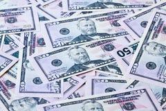 Feche acima de cinqüênta notas de dólar Imagem de Stock Royalty Free