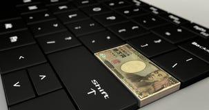 Feche acima de Japão dez mil botões dos ienes ilustração stock