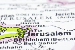 Feche acima de Jerusalem no mapa, Israel Imagem de Stock