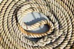 Feche acima de Marine Rope Coil Fotografia de Stock