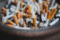 Feche acima de muitas pontas de cigarro Waste no cinzeiro foto de stock