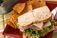 Feche acima de Turquia Ham Healthy Lunch Sandwich Foto de Stock Royalty Free