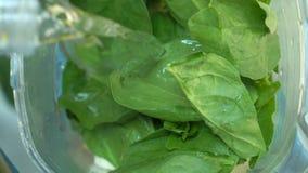 Feche acima de um batido verde com frutos frescos vídeos de arquivo
