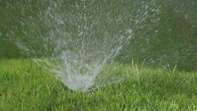 Feche acima de um bocal de um bocal para pulverizar da água do sistema de molhar automático de um gramado com brilhantemente o ve filme
