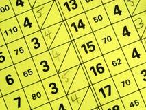 Feche acima de um cartão curto da contagem do campo de golfe. Imagens de Stock