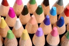 Feche acima de um grupo de lápis coloridos Fotografia de Stock