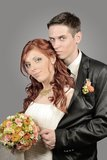 Feche acima de um par novo agradável do casamento Imagens de Stock Royalty Free