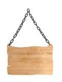 Feche acima de um sinal de madeira vazio no fundo branco Fotos de Stock Royalty Free