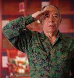 Feche acima de um soldado de veterano sério que veste um uniforme militar, fazendo um sinal dos cumprimentos à autoridade com o s imagens de stock royalty free