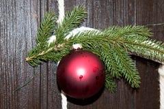 Feche acima de uma bola vermelha do Natal em uma decoração exterior do Natal em casa no emsland Alemanha do niederlangen fotos de stock