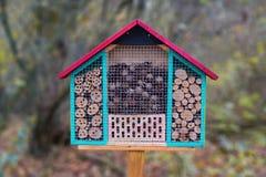 Feche acima de uma estrutura de madeira colorida do hotel da casa do inseto criada para fornecer o abrigo para insetos como abelh foto de stock