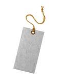 Feche acima de uma etiqueta vazia cinzenta isolada no fundo branco fotografia de stock