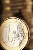 Feche acima de uma euro- moeda Foto de Stock Royalty Free