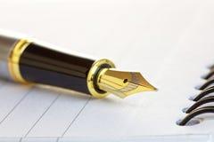 Feche acima de uma fonte Pen Nib do ouro em um bloco de notas Imagens de Stock
