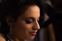 Feche acima de uma menina bonita com composição profissional Imagem de Stock Royalty Free