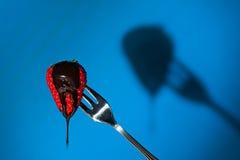 Feche acima de uma morango e de sua sombra no fundo fotografia de stock royalty free