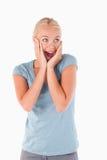 Feche acima de uma mulher surpreendida Imagem de Stock Royalty Free