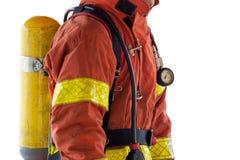 Feche acima do único bombeiro no terno e no equ da proteção da luta contra o incêndio fotos de stock
