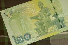 Feche acima do banho tailandês da cédula tailandesa com a imagem do rei tailandês Cédula tailandesa do baht 20 tailandês na tela  Imagem de Stock Royalty Free