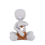 Feche acima do bebê rendido 3D do homem com chupeta ilustração royalty free