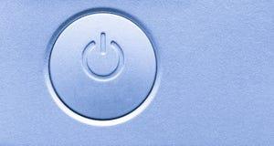 Feche acima do botão de ligar/desligar do poder do dispositivo eletrónico do computador Ícone moderno do símbolo da tecnologia do imagem de stock