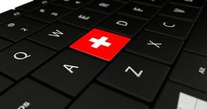 Feche acima do botão de Suíça Imagens de Stock Royalty Free