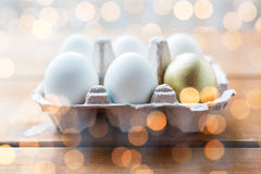 Feche acima do branco e dos ovos do ouro na caixa de ovo Fotografia de Stock Royalty Free