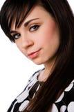 Feche acima do brunette bonito em preto e branco Imagem de Stock