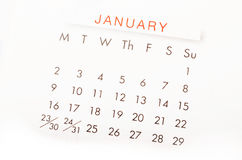 Feche acima do calendário para janeiro de 2017 Fotografia de Stock Royalty Free