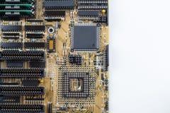Feche acima do cartão-matriz do PC no fundo/textura brancos Fotografia de Stock