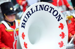 Feche acima do chifre de bronze branco da faixa de Burlington Fotos de Stock