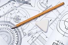 Feche acima do desenho de engenharia Foto de Stock Royalty Free