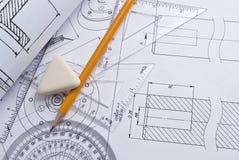 Feche acima do desenho de engenharia Imagens de Stock Royalty Free
