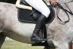 Feche acima do desportista que senta-se no cavalo Fotografia de Stock Royalty Free