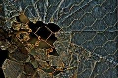 Feche acima do detalhe de vidro de segurança quebrado Fotografia de Stock