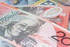 Feche acima do dinheiro macro das notas do australiano Fotos de Stock