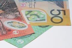 Feche acima do dinheiro macro das notas do australiano Fotografia de Stock Royalty Free