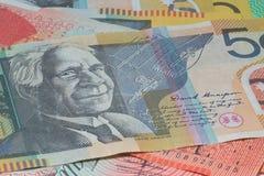 Feche acima do dinheiro macro das notas do australiano Fotografia de Stock