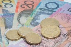 Feche acima do dinheiro macro das notas do australiano Imagens de Stock Royalty Free