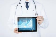 Feche acima do doutor com o PC do estetoscópio e da tabuleta Fotografia de Stock