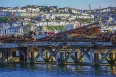 Feche acima do equipamento de pesca no porto exterior Brixham Devon England Reino Unido do porto Fotografia de Stock Royalty Free