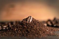 Feche acima do feijão de café na moagem do café Imagens de Stock