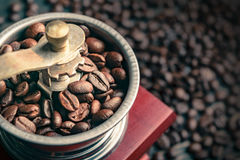 Feche acima do feijão de café no moedor Fotos de Stock
