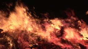 Feche acima do fogo que queima-se no fumo preto do fundo