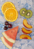 Feche acima do fruto no gelo Fotografia de Stock Royalty Free