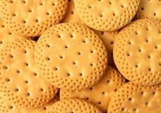 Feche acima do grupo do fundo dos biscoitos, biscoitos redondos como o backgro Fotografia de Stock Royalty Free