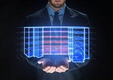 Feche acima do homem de negócios com projeção virtual imagem de stock royalty free