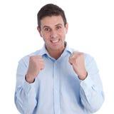 Feche acima do homem de negócios feliz com punho apertado imagens de stock royalty free